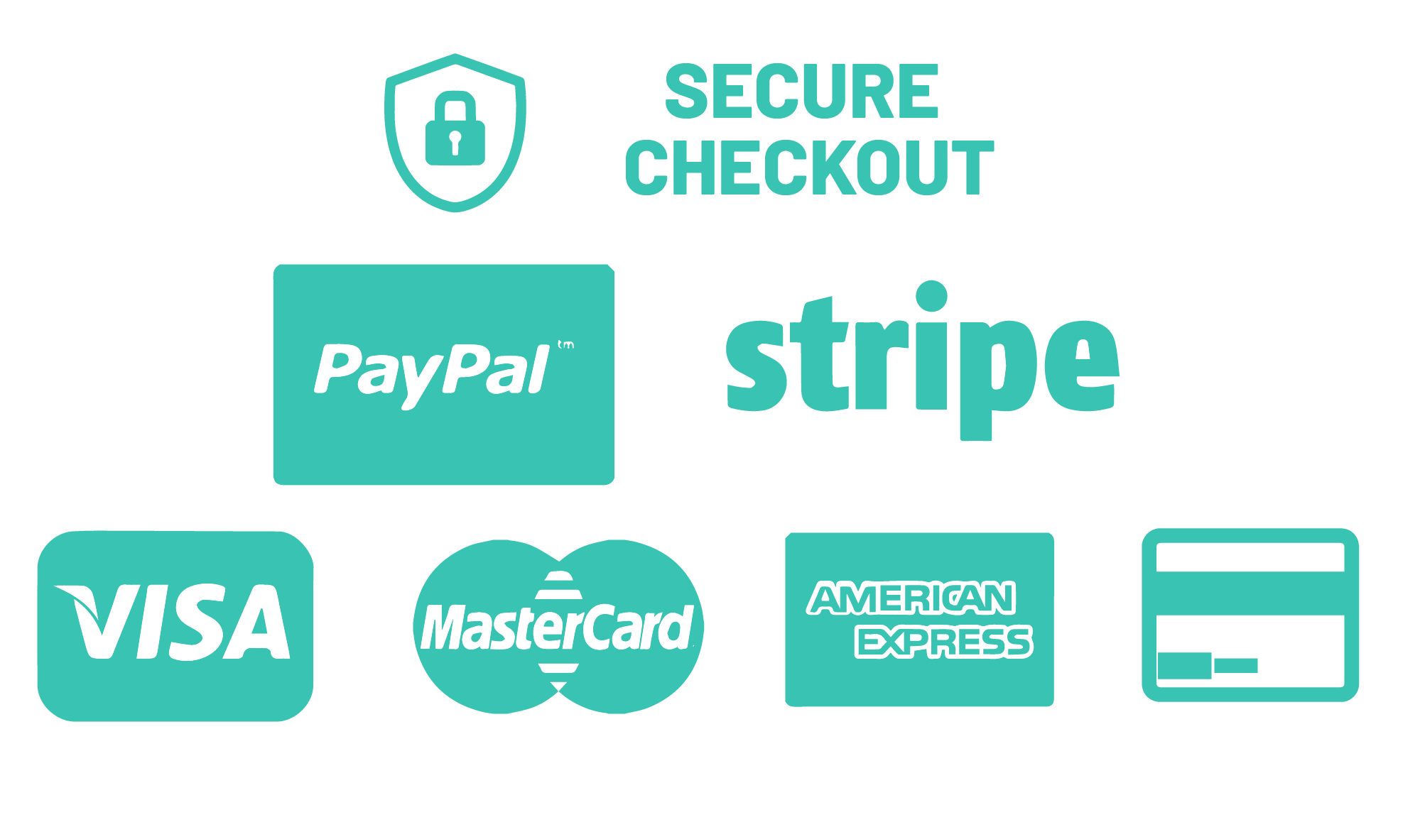 Secure payment options: PayPal, Stripe, Visa, MasterCard, American Express
